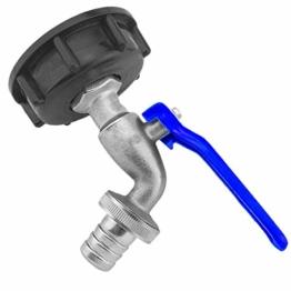 Auslaufhahn 3/4 Zoll AG aus Messing mit Hebelgriff blau und Schlauchtülle für 3/4 Zoll Schlauch mit Adapter als ZUBEHÖR für IBC Container Kappe Deckel Auslaufventil Wasserhahn Kugelhahn Kanister - 1