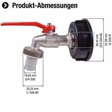 Cornat Kugelauslaufhahn - 26,44 mm (3/4 Zoll) AG - Inkl. Schlauchanschluss & Adapter für IBC-Regenwassertanks - Hochwertiges Messing / Zapfhahn für Regentonnen / Wasserhahn / Absperrhahn / FLOR92586 - 2