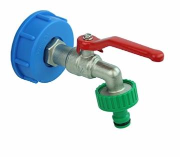 GASMIS IBC Adapter mit Auslaufhahn S60x6 3/4 Kugelhahn Auslaufventil Kugelauslaufhahn 3/4 Zoll AG Inkl Schlauchanschluss Tülle und Hahnanschlussstück Wasserhahn für Regentonne IBC-Regenwassertank - 3