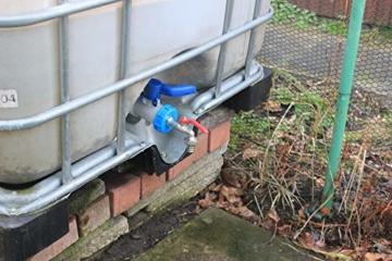 GASMIS IBC Adapter mit Auslaufhahn S60x6 3/4 Kugelhahn Auslaufventil Kugelauslaufhahn 3/4 Zoll AG Inkl Schlauchanschluss Tülle und Hahnanschlussstück Wasserhahn für Regentonne IBC-Regenwassertank - 4