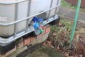 GASMIS IBC Adapter mit Auslaufhahn S60x6 3/4 Kugelhahn Auslaufventil Kugelauslaufhahn 3/4 Zoll AG Inkl Schlauchanschluss Tülle und Hahnanschlussstück Wasserhahn für Regentonne IBC-Regenwassertank - 5