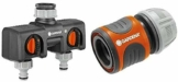 GARDENA 2-Wege-Verteiler & uhren, Wasserdurchfluss regulier und absperrbar & Anschlussgarnitur Comfort Flex Schlauchadapter zum Anschluss des Schlauchwagens, 25 bar Berstdruck, 13 mm, 1/2 Zoll, 1,5 m - 1
