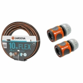 Gardena Comfort FLEX Schlauch 13 mm (1/2 Zoll), 10 m & Schlauchverbinder-Satz 13 mm (1/2 Zoll) und 15 mm (5/8 Zoll): Steckverbinder für den Schlauchanfang, schneller und einfacher Anschluss (18281-20) - 1