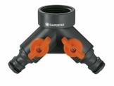 Gardena 2-Wege-Ventil: Wasserverteiler für Wasserhahn mit 26.5 mm (G 3/4 Zoll) Gewinde, für gleichzeitigen Anschluss von zwei Geräten, beide Ausgänge regulierbar (938-20) - 1