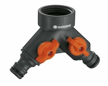 Gardena 2-Wege-Ventil: Wasserverteiler für Wasserhahn mit 26.5 mm (G 3/4 Zoll) Gewinde, für gleichzeitigen Anschluss von zwei Geräten, beide Ausgänge regulierbar (938-20) - 3