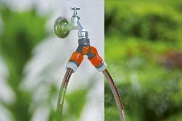 Gardena 2-Wege-Ventil: Wasserverteiler für Wasserhahn mit 26.5 mm (G 3/4 Zoll) Gewinde, für gleichzeitigen Anschluss von zwei Geräten, beide Ausgänge regulierbar (938-20) - 5
